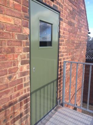 New steel door fitted by Peak Property Maintenance